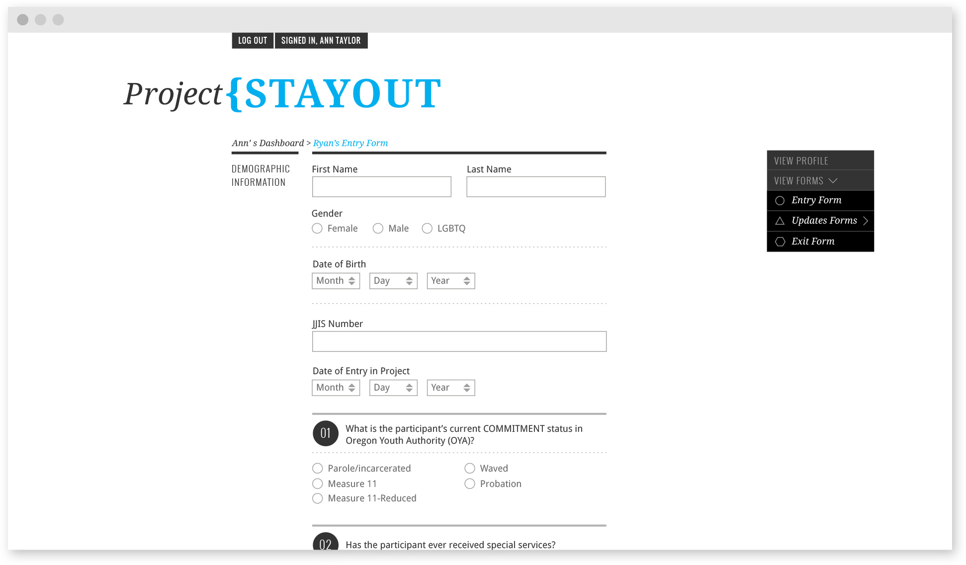 Project STAYOUT Form